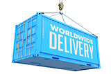 World Wide Delivery - Blue Hanging Cargo Container.