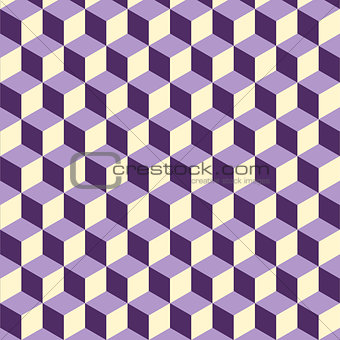 Abstract isometric violet cube pattern background