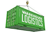 Warehouse Logistics - Green Hanging Cargo Container.