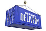 Service Delivery - Blue Hanging Cargo Container.