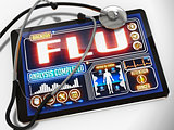 Flu on the Display of Medical Tablet.