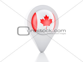 3d Map pointer Canada flag on white background