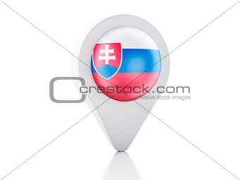 3d Map pointer Slovakia flag icon on white background