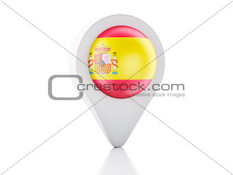3d Map pointer Spain flag icon on white background