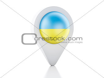 3d Map pointer Ukraine flag icon on white background