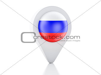 3d Map pointer Russia flag icon on white background