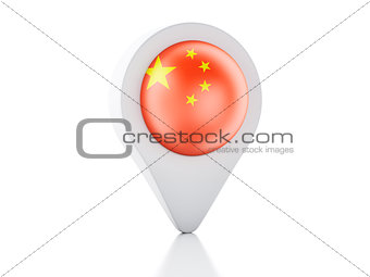 3d Map pointer China flag icon on white background