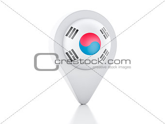 3d Map pointer South Korea flag icon on white background