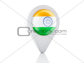 3d Map pointer India flag icon on white background