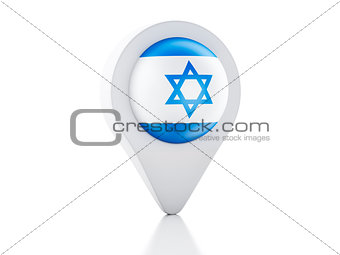 3d Map pointer Israel flag icon on white background