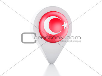 3d Map pointer Turkey flag icon on white background