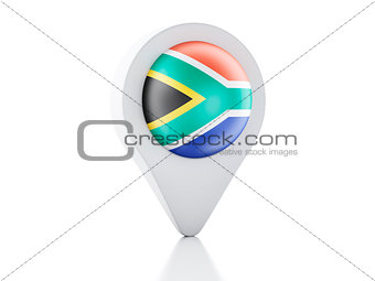 3d Map pointer South Africa flag icon on white background