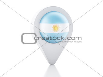 3d Map pointer Argentina flag icon on white background