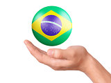 hand hold brazil flag icon on white bakground