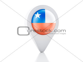 3d Map pointer Chile flag icon on white background