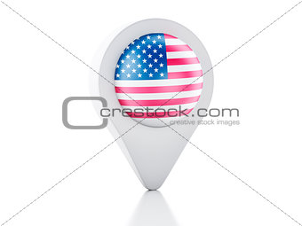3d Map pointer United States flag icon on white background