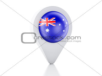 3d Map pointer australia flag icon on white background