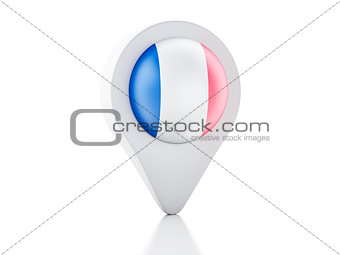 3d Map pointer france flag icon on white background