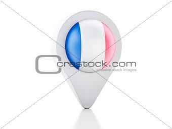 3d Map pointer france flag icon on white background