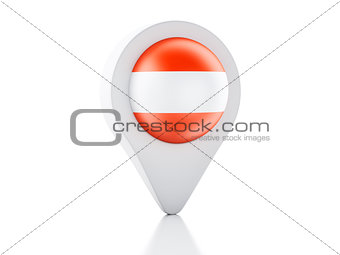 3d Map pointer Austria flag icon on white background