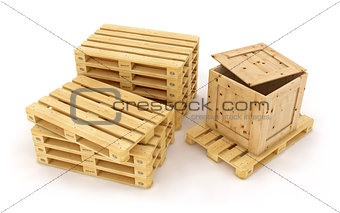 Cardboard box on wooden pallet isolated on white background. 3d rendering illustration