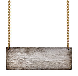 vintage wooden sign on golden chains on an isolated white backgr