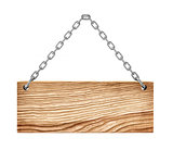 wooden sign on the chain isolated on white background