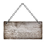 Vintage signboard on chain isolated on white background