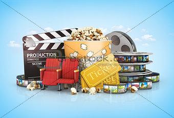 cinematograph in cinema films and popcorn