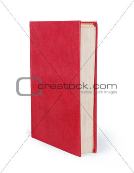 Blank vertical book cover template with pages in front side stan