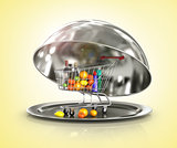 Photo of a silver serving dome or Cloche isolated on a white background with clipping path.