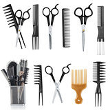 Comb and scissors collection isolated on the white background