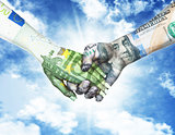 euro and dollar holding hands in sky background