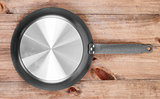Frying pan on wooden table background. View from above