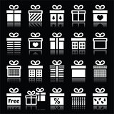 Present, gift box white icons on black