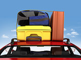 Vacation Trip! Baggage on the roof of car