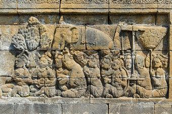 Carved stone at the Borobudur temple in Yogyakarta, Indonesia