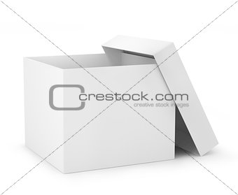 one open carton box in white color (3d render)