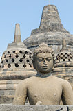 Statue at the Borobudur temple in Yogyakarta, Indonesia