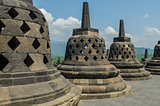 Stupa's at the Borobudur temple in Yogyakarta, Indonesia