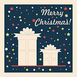 Vintage Christmas and Happy New Year holiday greeting card with present boxes. Vector illustration.