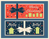 Vintage Christmas holiday greeting cards set with bows. Happy holidays set of tags and bookmarks. Vector illustration