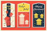 Vintage Christmas and Happy New Year holiday cards set with present boxes. Happy holidays set of tags and bookmarks. Vector illustration.