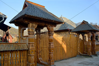 carved wood gate
