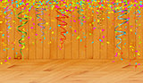 falling color confetti in wooden room