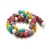 Colorful lava volcano beads with reflection