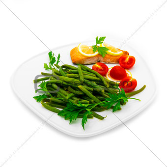 Green beans and salmon fish