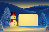 happy snowman with blank poster