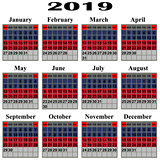 Calendar for 2019 year.