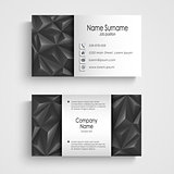 Modern triangle gray business card template